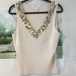 WHBM Sequin Tank Top Ribbed Cream Shirt Blouse